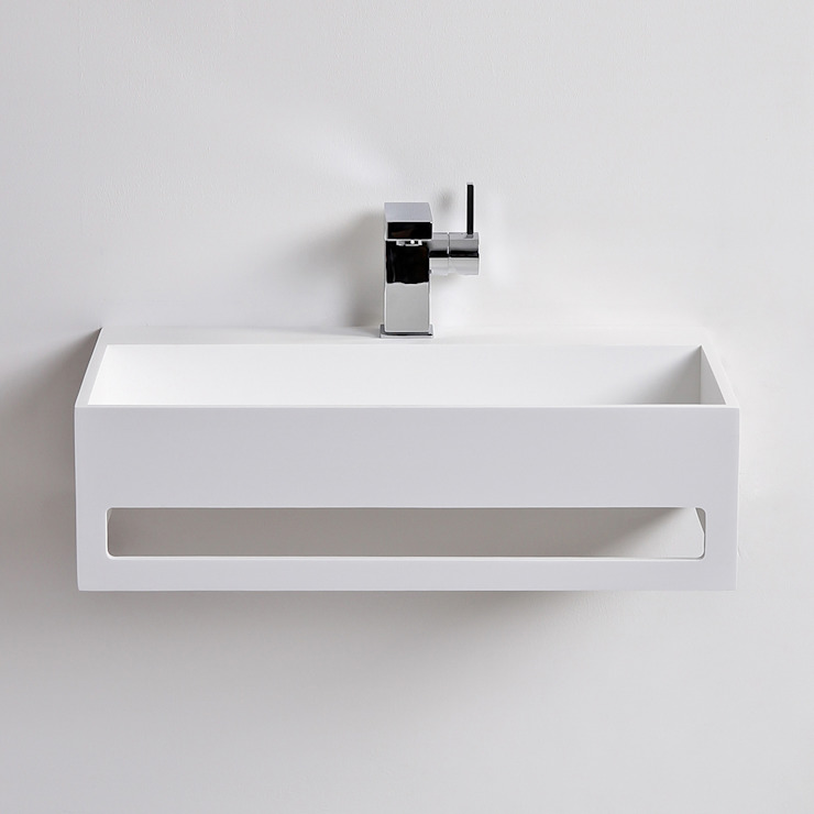 Lusso Stone Ethos Flow Solid surface stone resin square wall hung basin 600: modern  by Lusso Stone, Modern