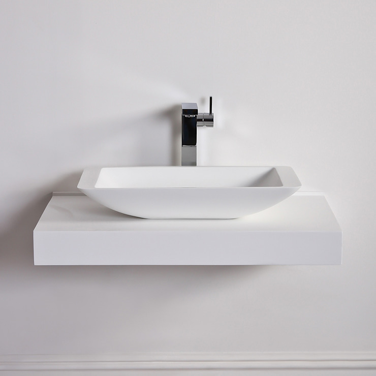 Lusso Stone Quadrato Solid surface stone resin counter top basin 600: modern  by Lusso Stone, Modern