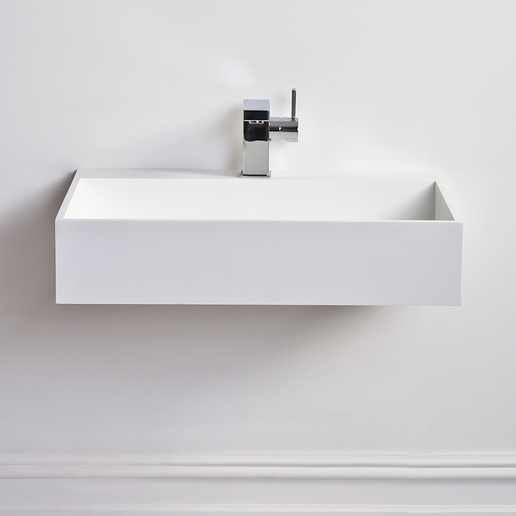 Lusso Stone Ethos slim Solid surface stone resin counter top wall hung basin 620: modern  by Lusso Stone, Modern