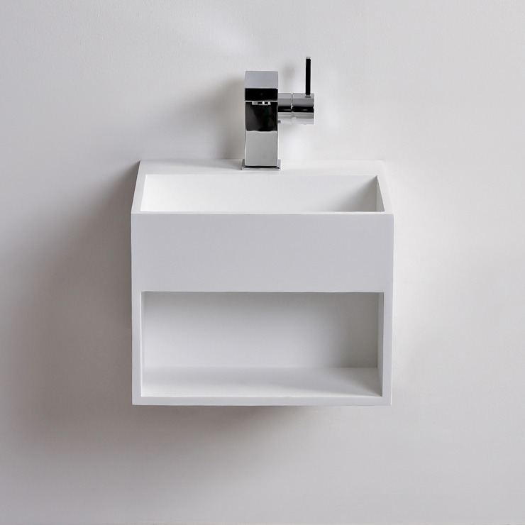 Lusso Stone Ethos Mini Solid surface stone resin wall hung basin 330: modern  by Lusso Stone, Modern