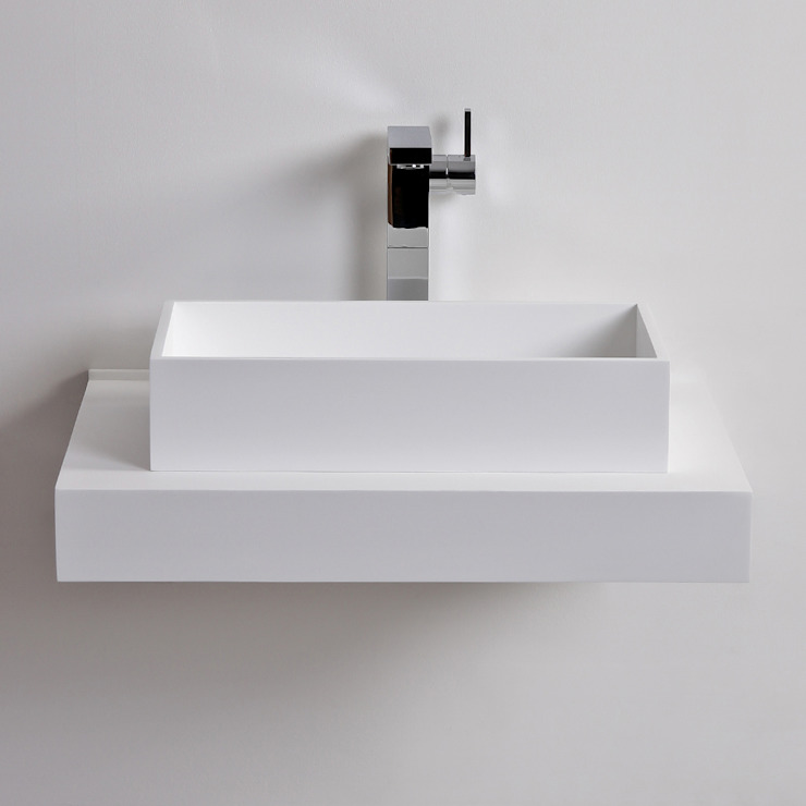 Lusso Stone Cube Solid surface stone resin counter top basin 500: modern  by Lusso Stone, Modern