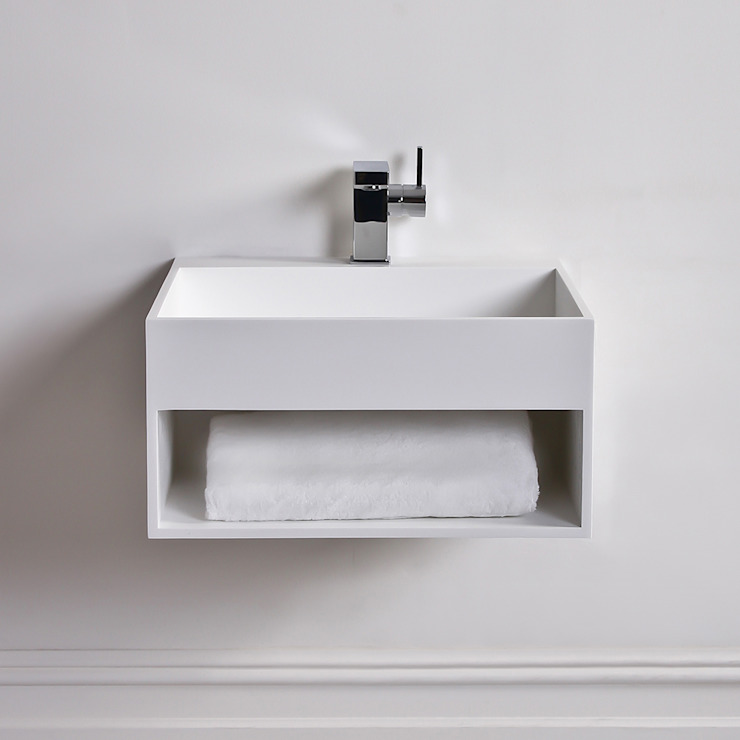 Lusso Stone Ethos Solid surface stone resin wall hung basin 500: minimalist  by Lusso Stone, Minimalist