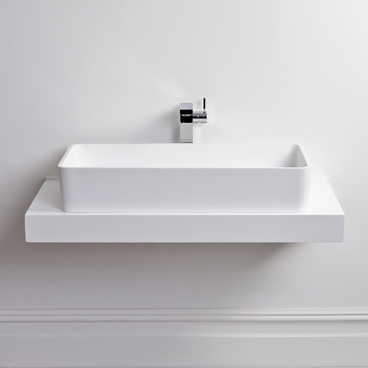 Lusso Stone Lauro Solid surface stone resin square counter top basin 800: modern  by Lusso Stone, Modern