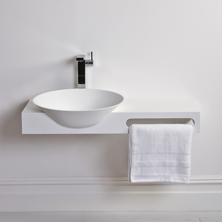 Lusso Stone Ravello Solid surface stone resin wall hung basin 1000: modern  by Lusso Stone, Modern