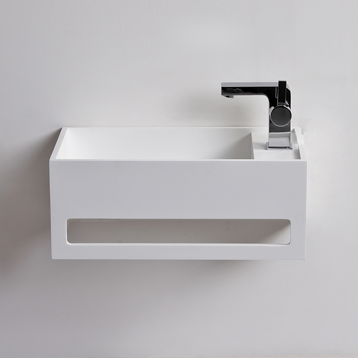 Lusso Stone Art Solid surface stone resin wall hung basin 500: modern  by Lusso Stone, Modern