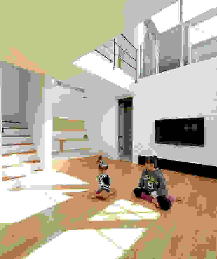 リビング モダンデザインの リビング の H建築スタジオ モダン