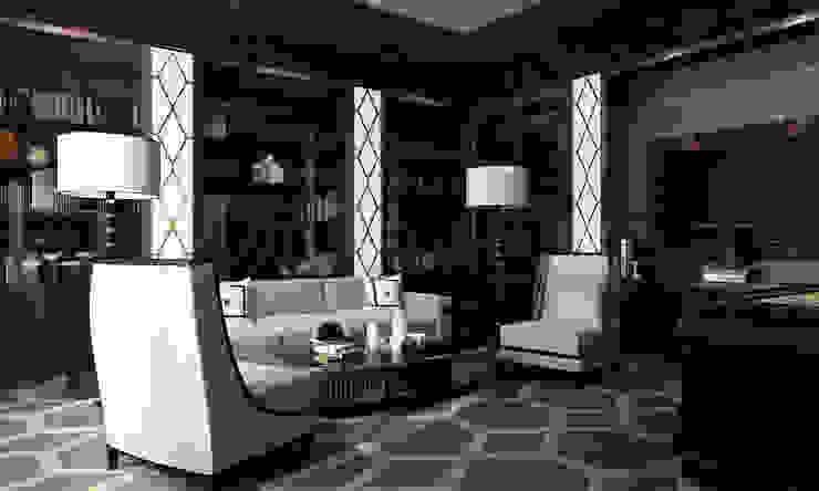 Интерьеры современного особняка в стиле ар-деко, Нью-Йорк, США Медиа комнаты в эклектичном стиле от Марина Анисович, студия NEUMARK Эклектичный