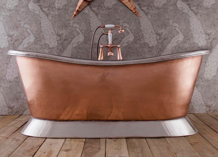 Copper Bateau Bath - Polished Nickel Interior & Plinth Hurlingham Baths Kamar Mandi Klasik