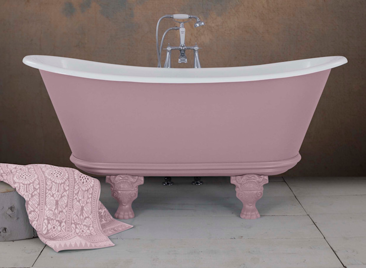 Noah Cast Iron bath in Farrow & Ball Cinder Rose by Hurlingham Baths Classic