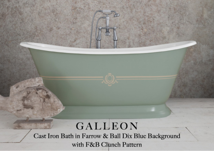 Galleon Cast Iron Bath in Farrow & Ball Dix Blue Background with F & B Clunch Pattern Hurlingham Baths Kamar Mandi Klasik