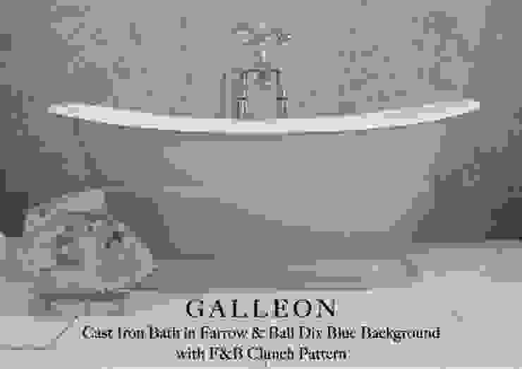 Galleon Cast Iron Bath in Farrow & Ball Dix Blue Background with F & B Clunch Pattern Classic style bathroom by Hurlingham Baths Classic