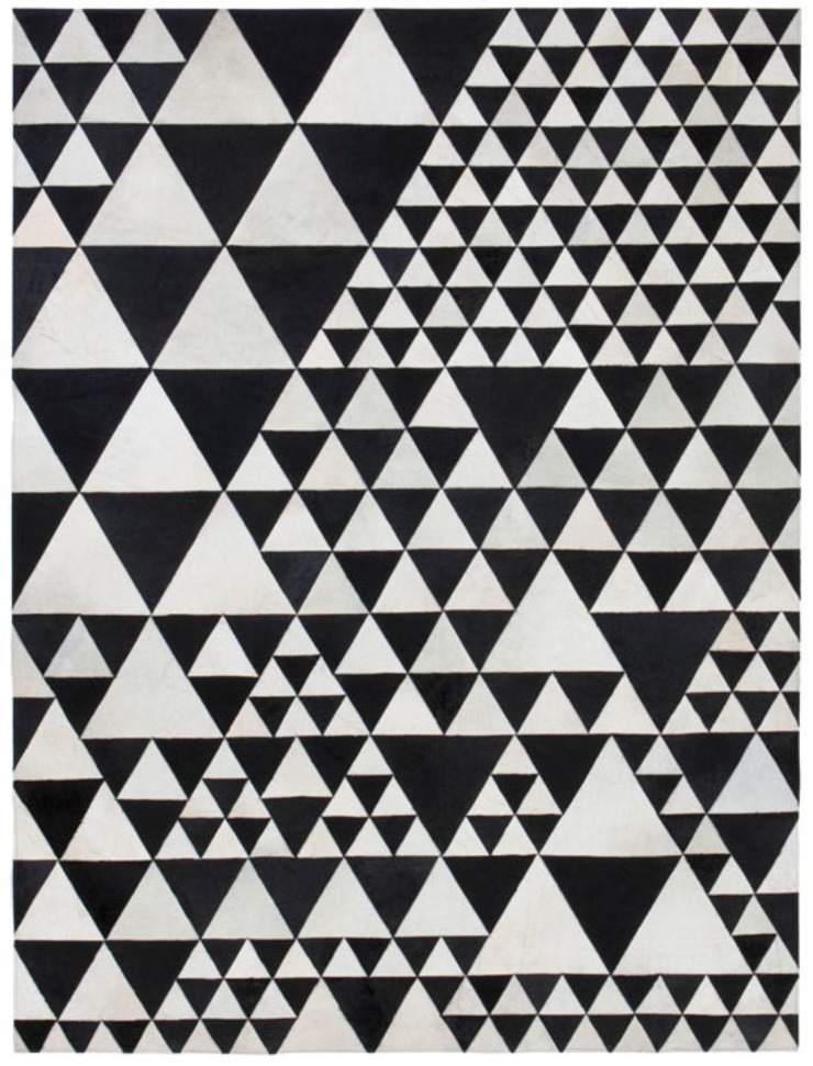 WovenGround Pyramid hand made leather rug in white-black: modern  by WovenGround, Modern