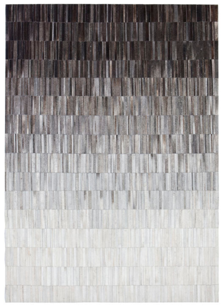 WovenGround Fade hand made leather rug - grey: modern  by WovenGround, Modern