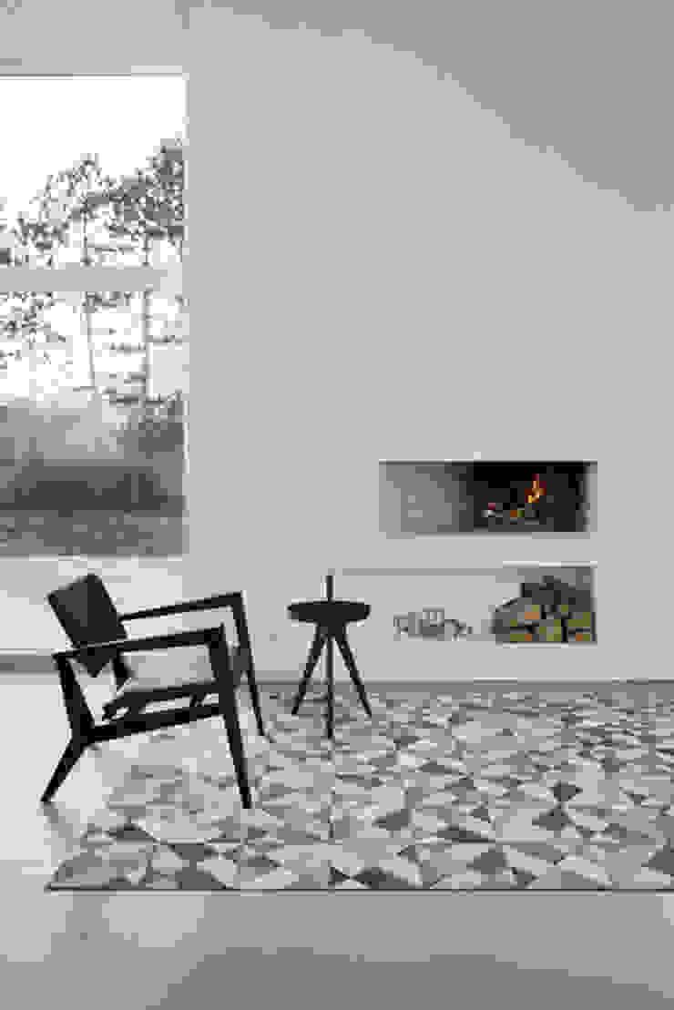 WovenGround Giza hand made leather rug - grey : modern  by WovenGround, Modern