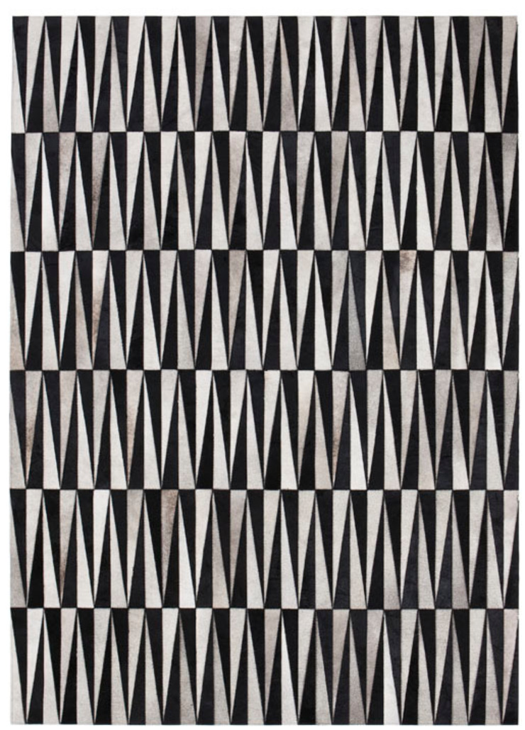 WovenGround Opal hand made leather rug - black-grey: modern  by WovenGround, Modern