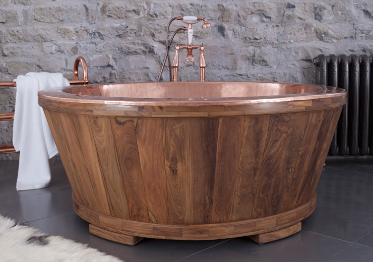 Dory Copper Interior Clad with Teak Hurlingham Baths Kamar Mandi Klasik