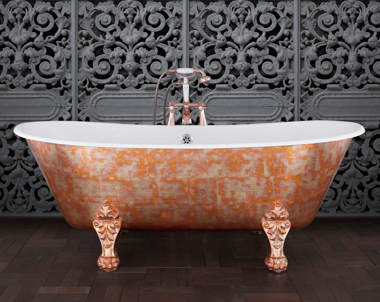 Schooner Cast Iron Bath with Variegated Faux Copper & Pewter Leaf Exterior & Feet Hurlingham Baths Kamar Mandi Klasik