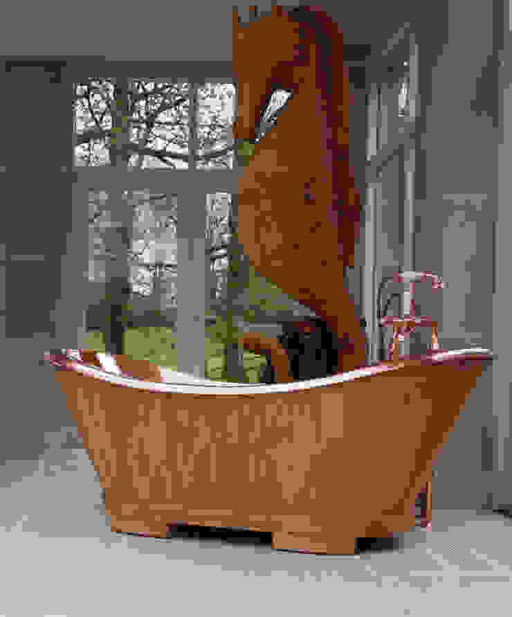 The Sloop Copper bath clad in Oak Classic style bathroom by Hurlingham Baths Classic