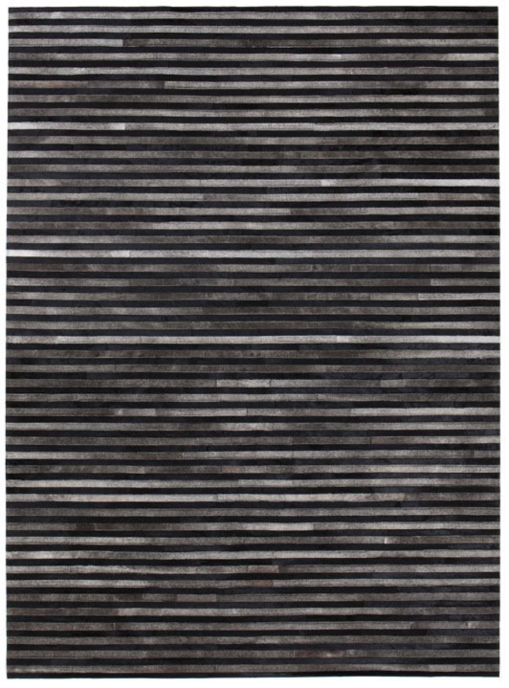 WovenGround Channel rug, hand made in leather - black: modern  by WovenGround, Modern