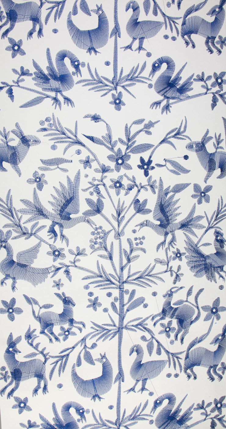 Aves Embroidered Wallpaper: modern  by CUSTHOM, Modern