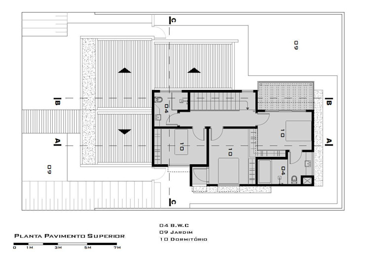 First Floor Plan (Planta do pavimento superior) par Tony Santos Arquitetura Moderne