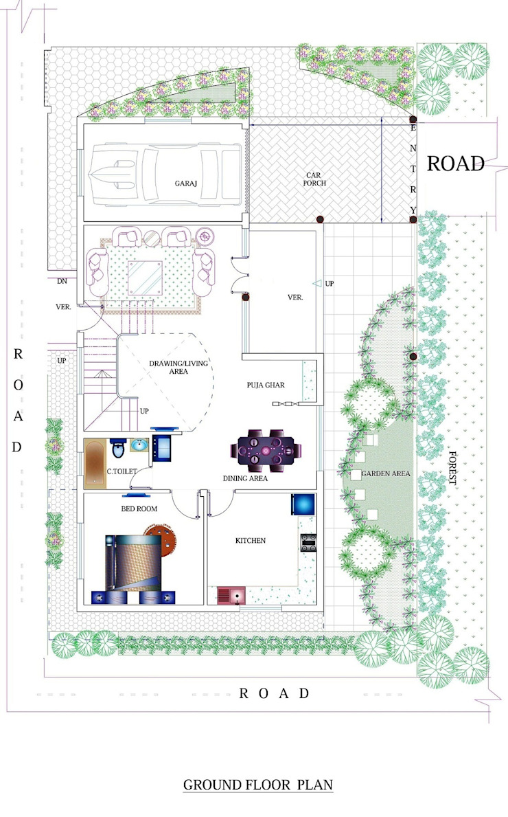Duplex House Plan: modern  by ApnaGhar.co.in,Modern