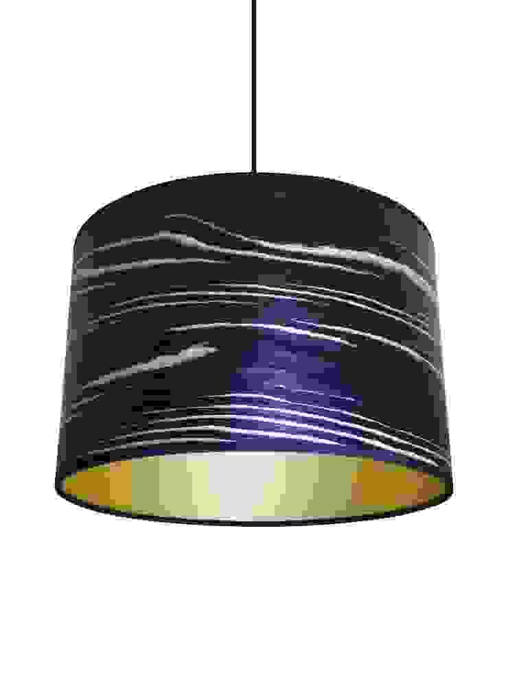 Black & white stripe veneer drum lampshade: modern  by Storm Furniture, Modern