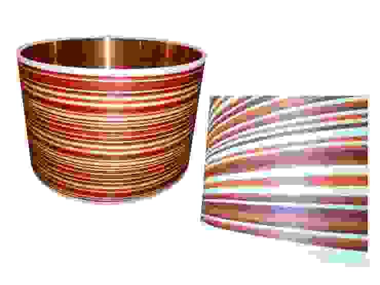 Candy stripe wood veneer drum lampshade from Storm Furniture: modern  by Storm Furniture, Modern
