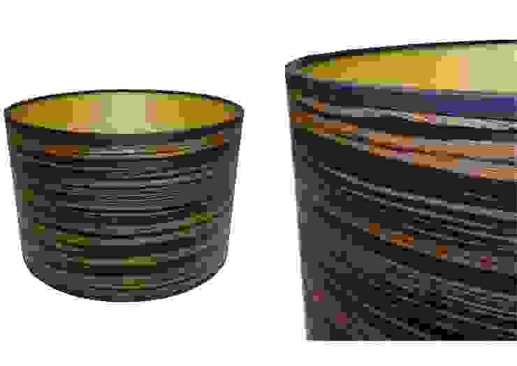 Dark stripe wood veneer drum lampshade from Storm Furniture: modern  by Storm Furniture, Modern