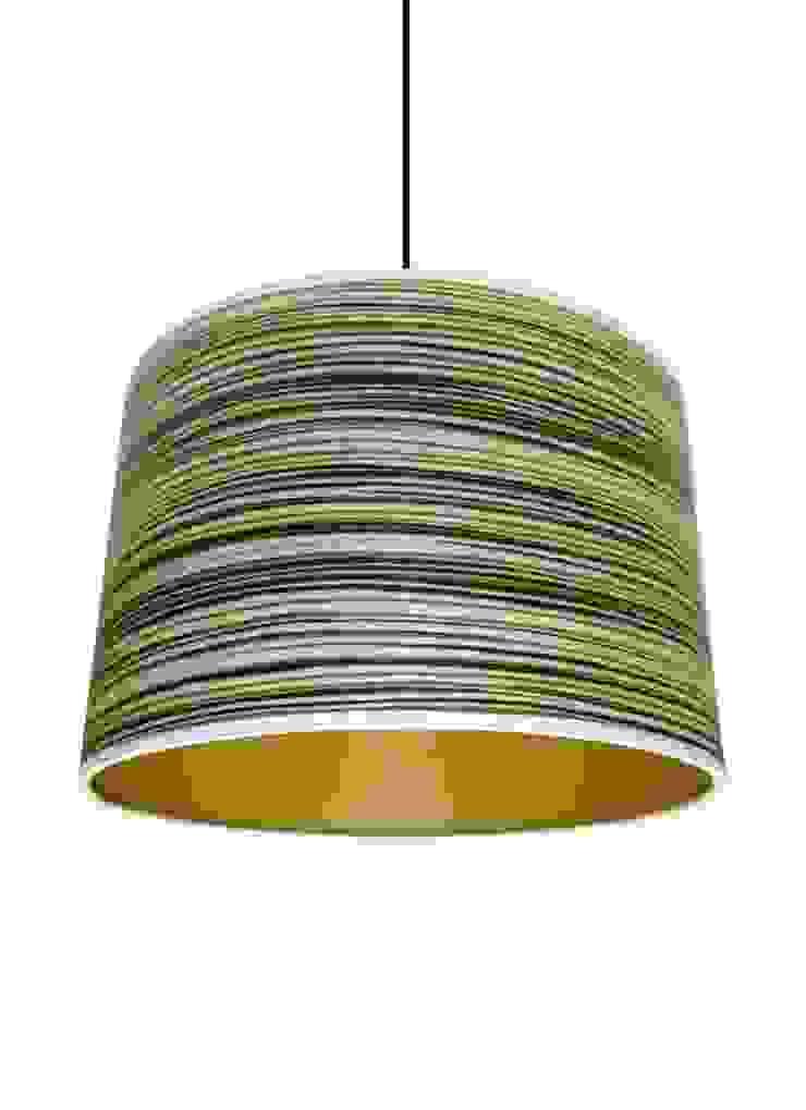 Green stripe wood veneer drum lampshade from Storm Furniture: modern  by Storm Furniture, Modern