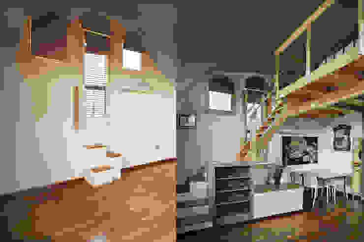 Antes y después. Mueble/escalera de acceso al altillo mobla manufactured architecture scp Dormitorios de estilo escandinavo