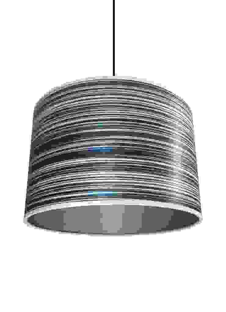 Blue stripe wood veneer drum lampshade from Storm Furniture: modern  by Storm Furniture, Modern