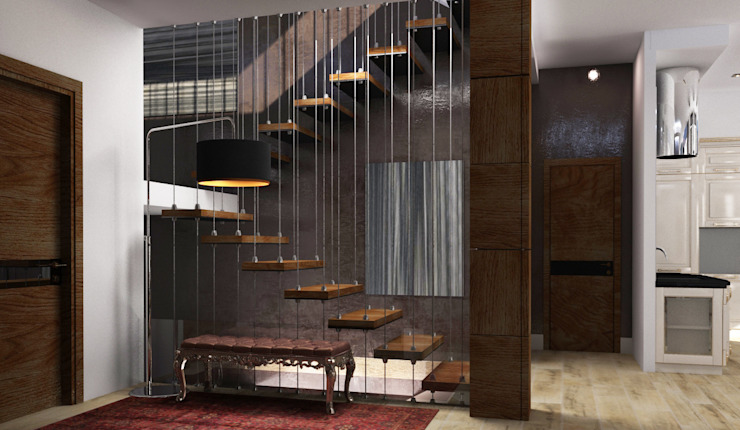 Интерьер дома с витражным остеклением Коридор, прихожая и лестница в стиле лофт от Quality Metric Лофт