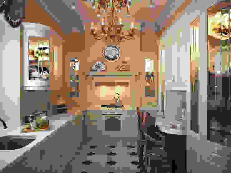 Дом с английскими мотивами Кухня в классическом стиле от премиум интериум Классический