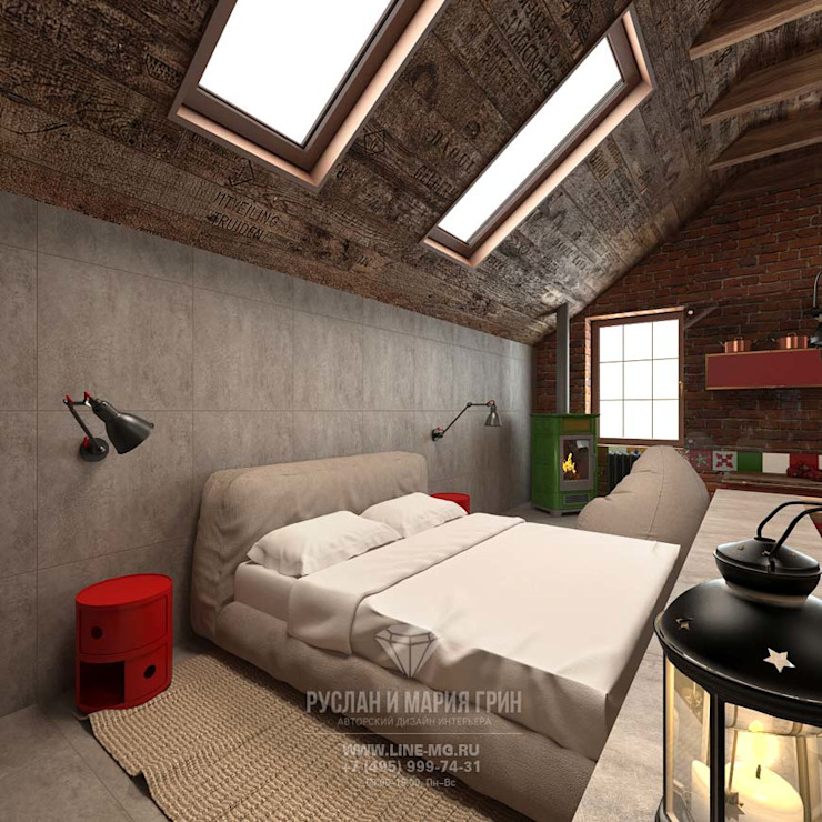 Современная идея дизайна мансарды в стиле лофт. Новинка 2015 Спальня в стиле лофт от Студия дизайна интерьера Руслана и Марии Грин Лофт