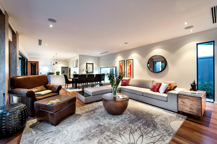 Floreat Residence, Perth, Western Australia:  Living room by Moda Interiors,