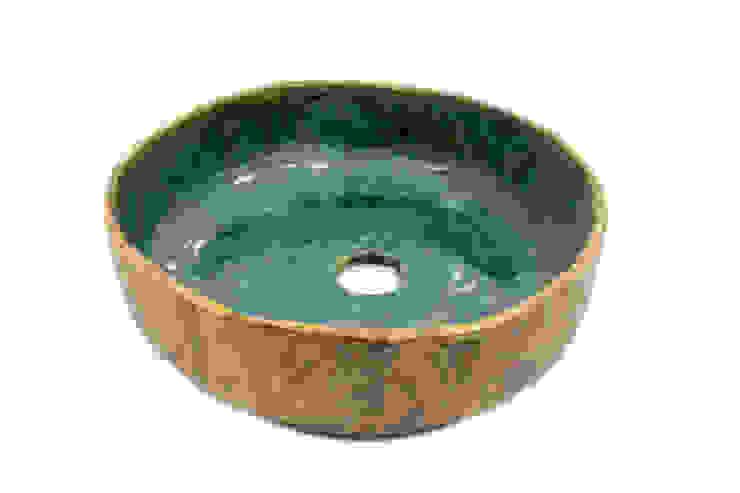 Türkis Waschbecken von Florisa Rustikal Keramik