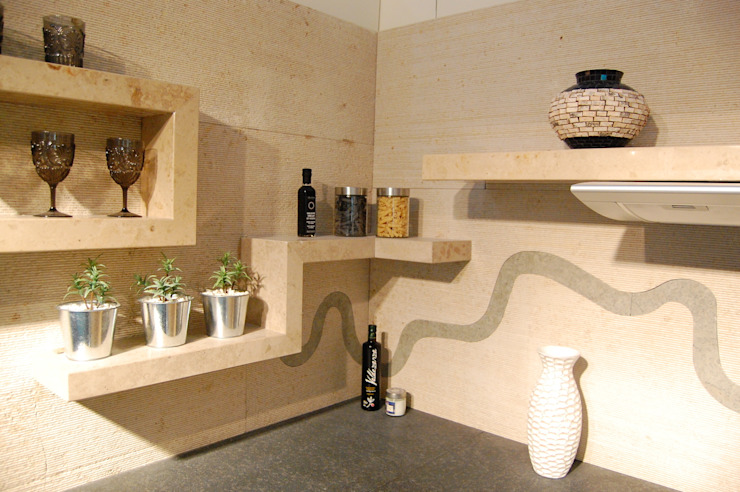 Stone shelves and backsplash Ogle luxury Kitchens & Bathrooms Kitchen