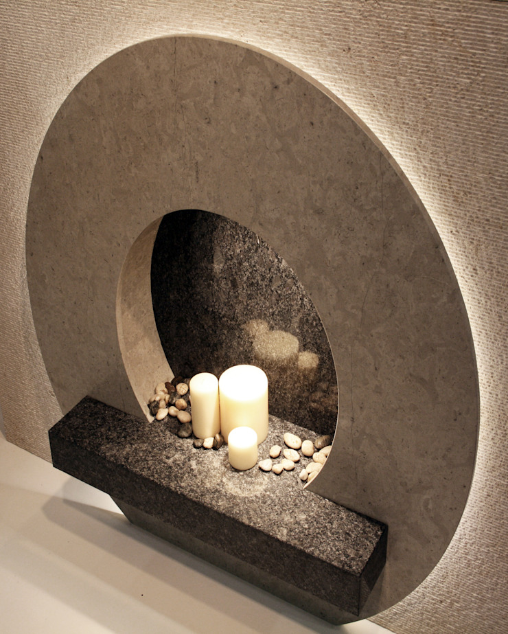 """""""O"""" Stone fireplace - SBID International Design awards - Finalists for Residential Product : modern  by Ogle luxury Kitchens & Bathrooms, Modern"""