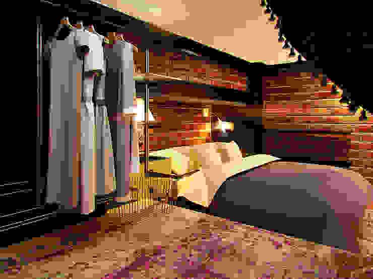 Квартира в стиле LOFT в Москве Спальня в стиле лофт от Anna Vladimirova Лофт
