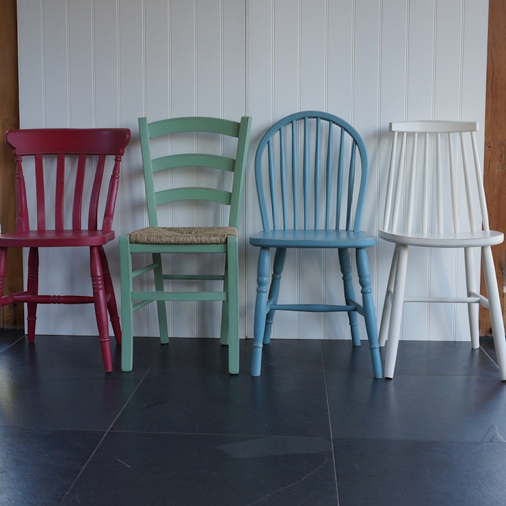 Mismatched Dining Chairs: country  by Rectory Blue, Country