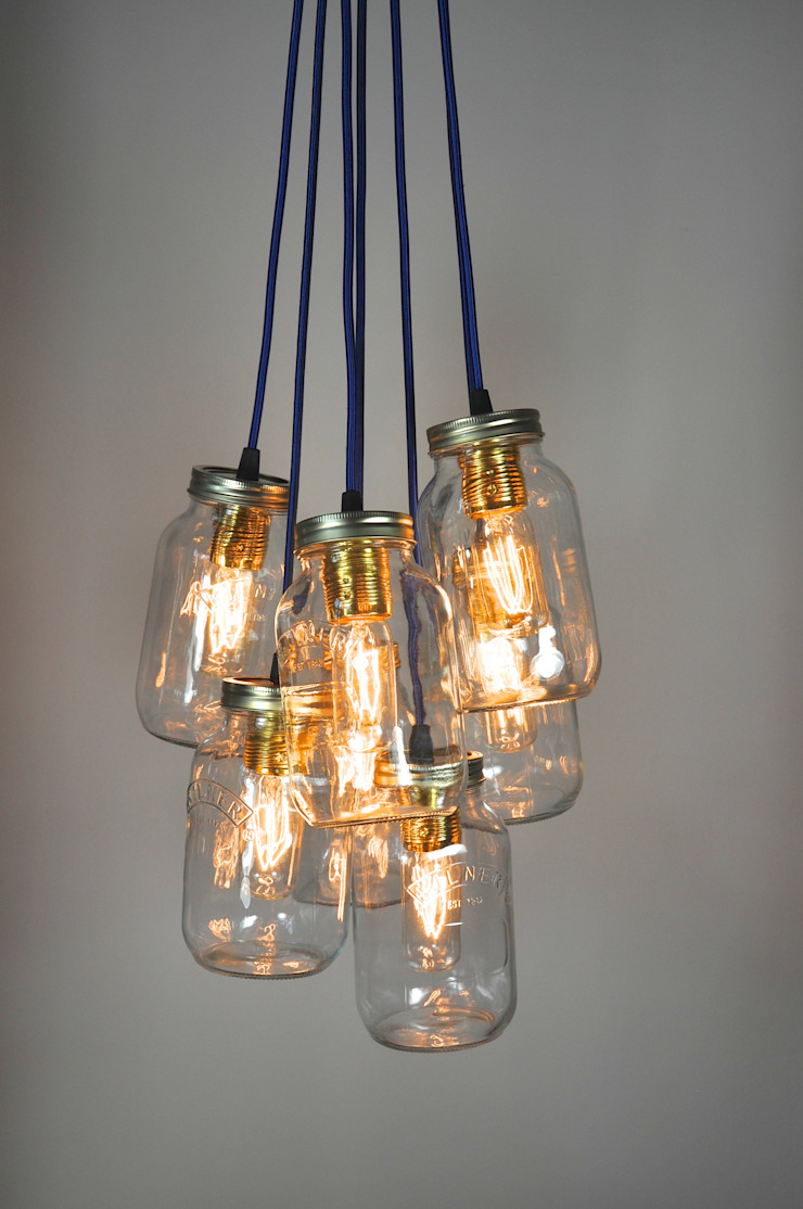 7 Jam Jar Pendant Light par Little Mill House Industriel