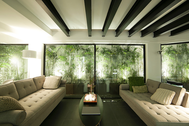 Tropical style living room by OneByNine Tropical