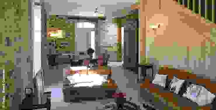 Exemples de realisations Salon rustique par sarl Patrimoine & Architecture Rustique