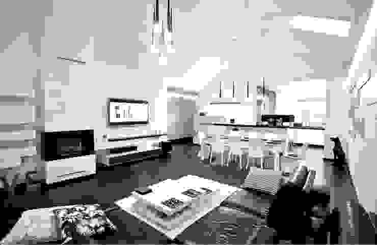 Wnętrze Black and White Nowoczesny salon od KLIFF DESIGN Nowoczesny