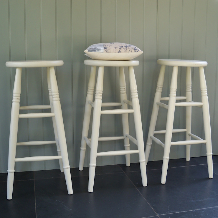 Hand Painted High Stool: country  by Rectory Blue, Country