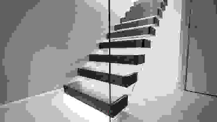 Walnut Floating Staircase : modern  by Railing London Ltd, Modern