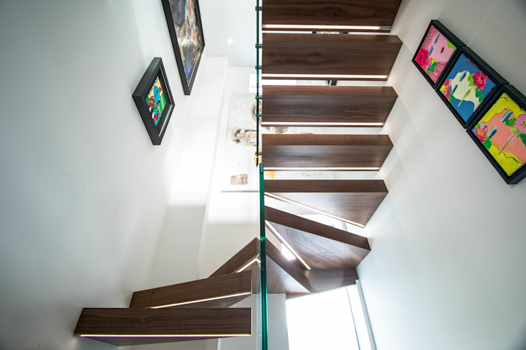 Spiral Floating Staircase with LED Illuminated Treads : modern  by Railing London Ltd, Modern