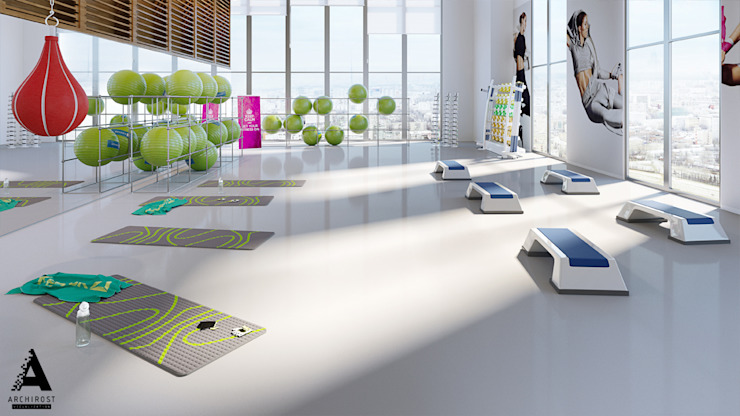 Визуализация коммерческой недвижимости Тренажерный зал в стиле модерн от Аrchirost Модерн