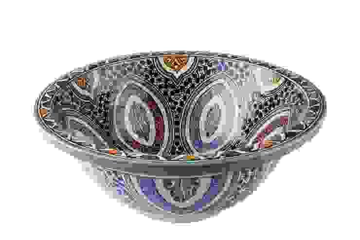 Mayma - Ręcznie malowana wzorzysta umywalka II od Kolory Maroka Egzotyczny